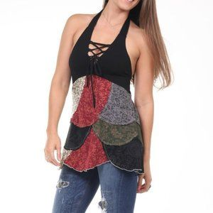 Jayli Woodstock Patchwork Lace Up Halter Top